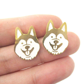 Adorable Husky Puppy Face Shaped Animal Stud Earrings in Gold | Limited Edition Jewelry | DOTOLY