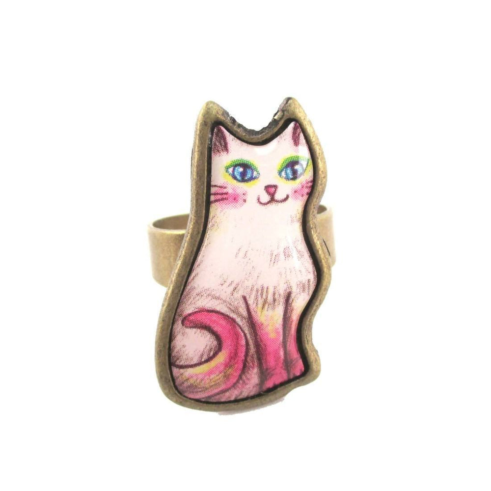 Adorable Illustrated Kitty Cat Adjustable Ring in White with Pink Tail | DOTOLY | DOTOLY