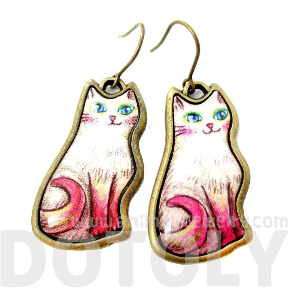 Adorable Illustrated Kitty Cat Animal Dangle Earrings in White with Pink Tail | DOTOLY | DOTOLY