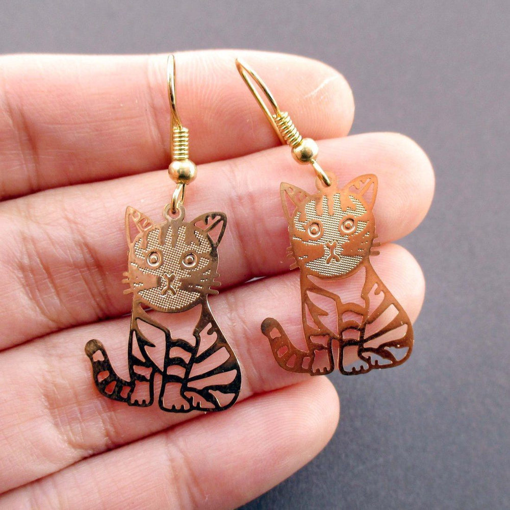 Adorable Striped Kitty Cat Cut Out Shaped Dangle Earrings in Gold ...