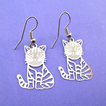 Adorable Kawaii Striped Kitty Cat Cut Out Shaped Dangle Earrings in Silver | DOTOLY | DOTOLY