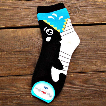 Adorable Killer Whale Bite Socks Animal Shaped Short Cotton Socks for Women | DOTOLY