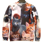 Adorable Kitty Cat All Over Collage Graphic Print Pullover Sweatshirt Sweater | Gifts for Cat Lovers | DOTOLY