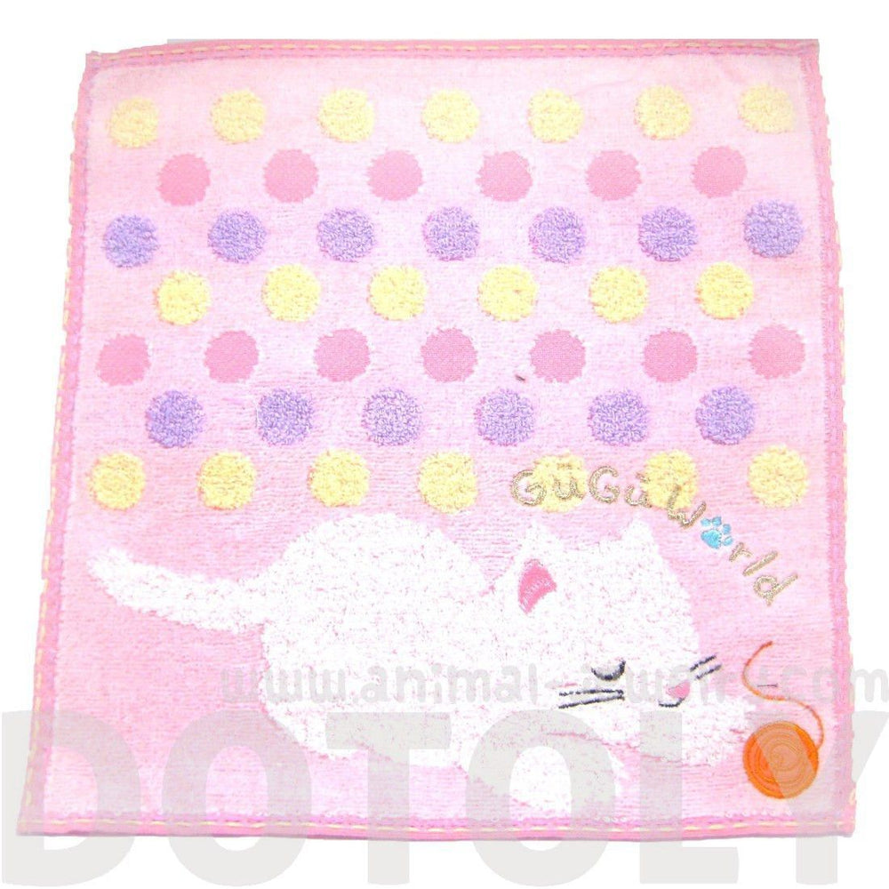 Adorable Kitty Cat and Ball of Yarn Polka Dotted Handkerchief Face Towel in Pink | Japan | DOTOLY