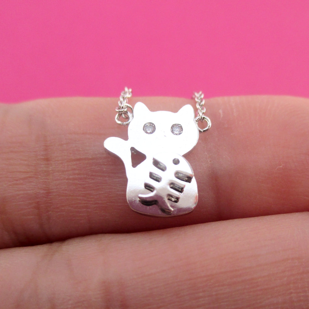 Adorable Kitty Cat and Fishbone Silhouette Shaped Choker Necklace