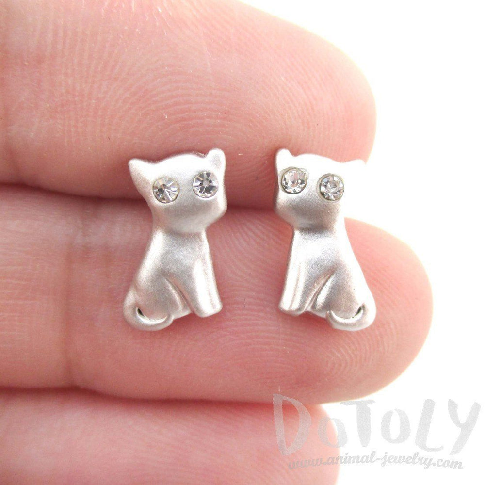 Adorable Kitty Cat Animal Shaped Stud Earrings in Silver with Rhinestones | DOTOLY | DOTOLY