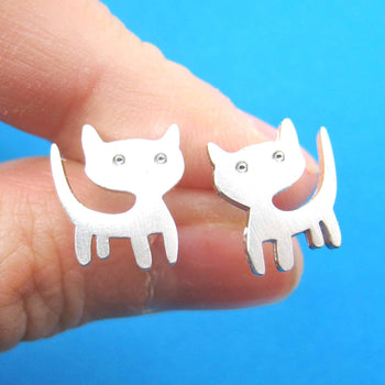 Adorable Kitty Cat Animal Stud Earrings in Silver | ALLERGY FREE | DOTOLY