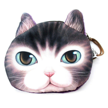 Adorable Kitty Cat Face Shaped Soft Fabric Zipper Coin Purse Make Up Bag with Green Eyes | DOTOLY