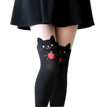 Adorable Kitty Cat Holding An Apple Mock Thigh High Pantyhose Tights | DOTOLY | DOTOLY