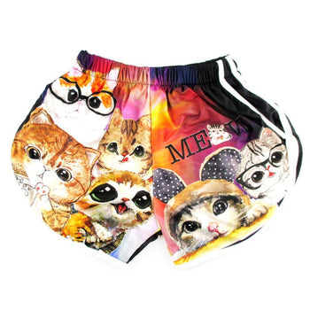 Adorable Kitty Cat Illustration Collage Print Elastic Waist Shorts | DOTOLY