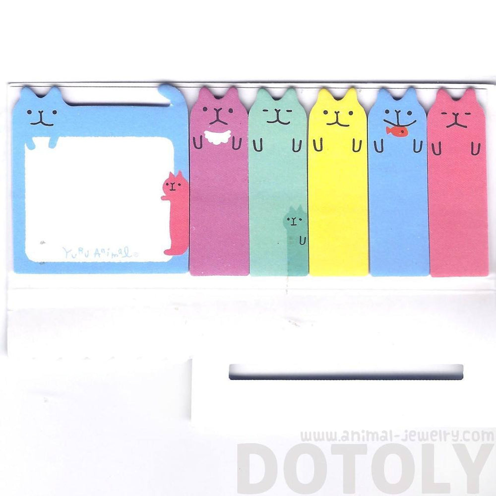 Adorable Kitty Cat Shaped Animal Memo Pad Post-it Index Sticky Tab Bookmarks | DOTOLY