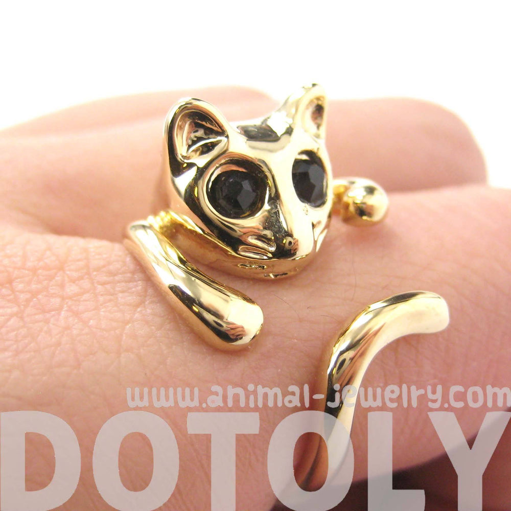 Adorable Kitty Cat Shaped Animal Wrap Ring in Shiny Gold | US Sizes 7 to 9 | DOTOLY
