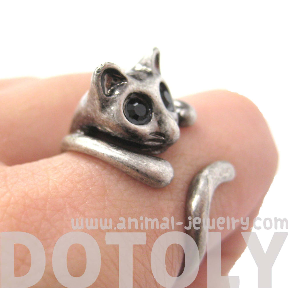 Adorable Kitty Cat Shaped Animal Wrap Ring in Silver | US Sizes 7 to 9 | DOTOLY