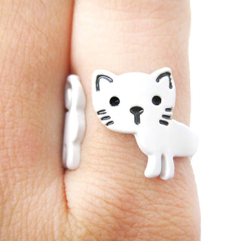 Adorable Kitty Cat Shaped Cartoon Animal Wrap Around Ring in White | DOTOLY | DOTOLY