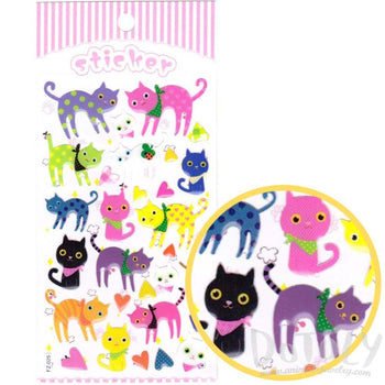 Adorable Kitty Cat Shaped Colorful Print Jelly Stickers for Scrapbooking | DOTOLY