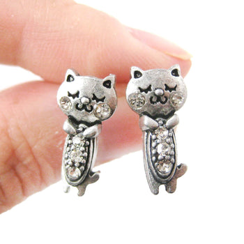 Adorable Kitty Cat Shaped Stud Earrings in Silver with Rhinestones | DOTOLY | DOTOLY