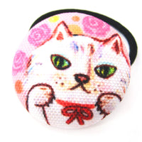 Adorable Kitty Cat with Pink Roses Button Hair Tie Pony Tail Holder | DOTOLY