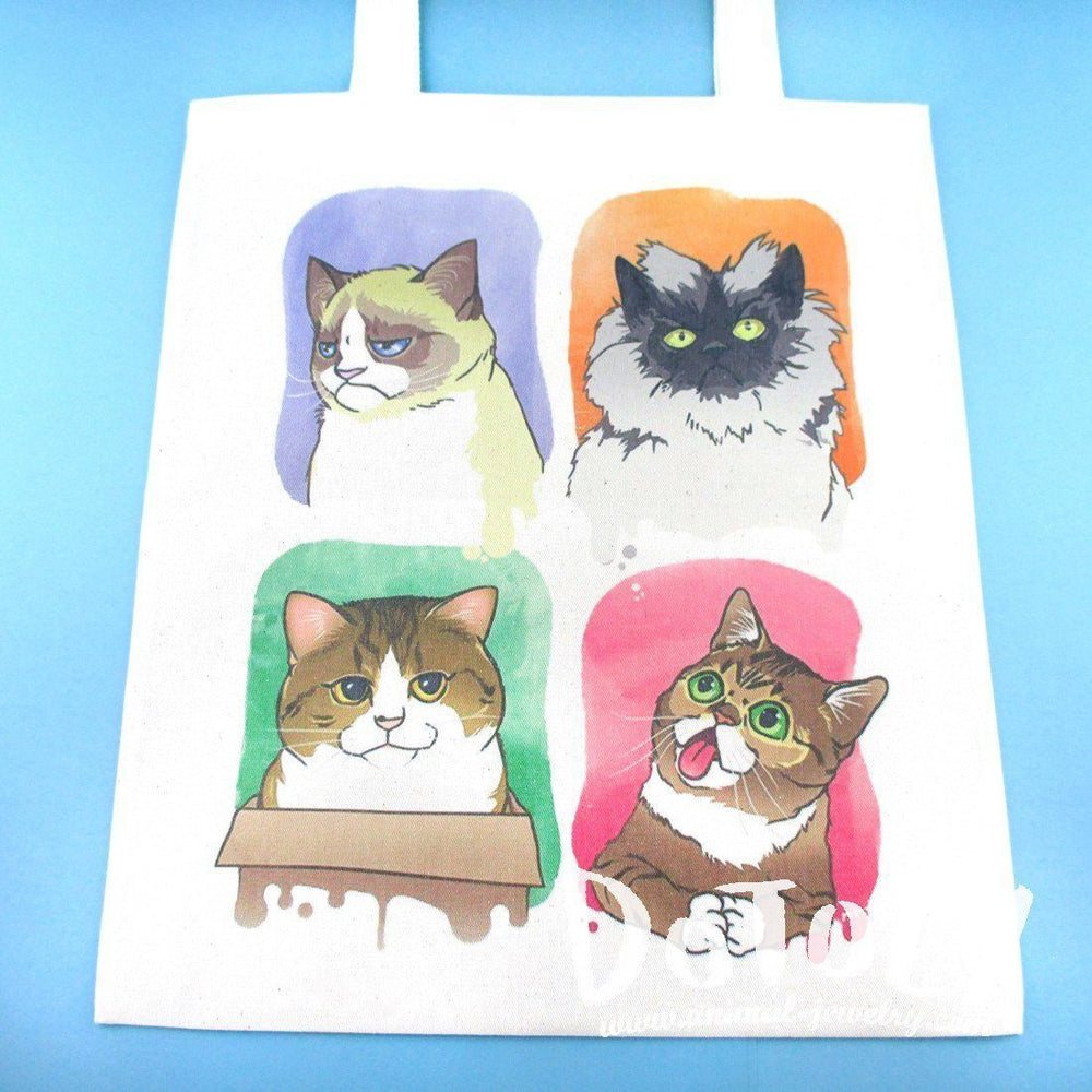 Adorable Kitty Cats Watercolor Print Illustrated Canvas Tote Bag