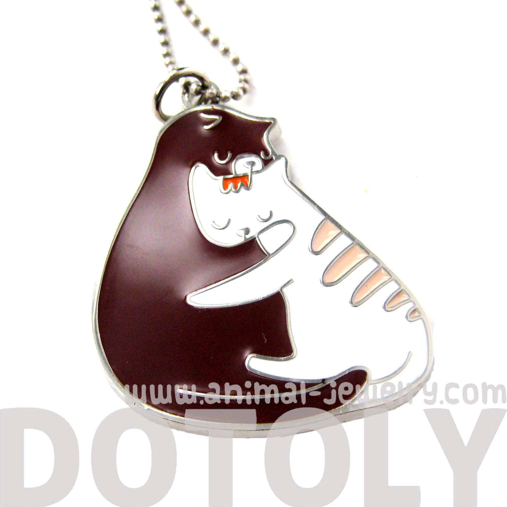 Adorable Kitty Love Cat Shaped Animal Embrace Hug Pendant Necklace | DOTOLY