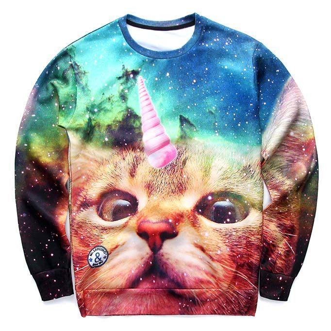 Adorable Kitty Unicorn Cat in Space Digital Print Unisex Pullover Sweatshirt Sweater | DOTOLY