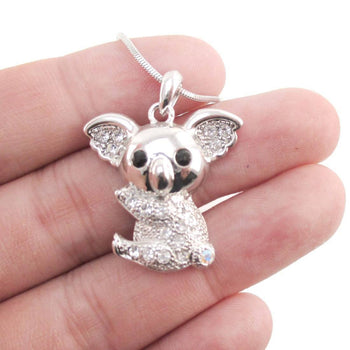 Adorable Koala Bear Shaped Pendant Necklace in Silver with Rhinestones