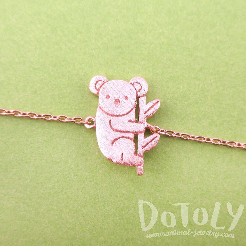 Adorable Koala Bear Shaped Silhouette Charm Bracelet in Rose Gold | Animal Jewelry | DOTOLY