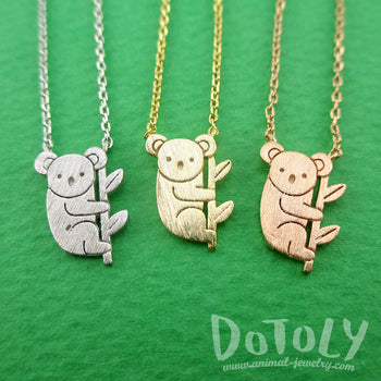 Adorable Koala Bear Shaped Silhouette Charm Necklace | Animal Jewelry