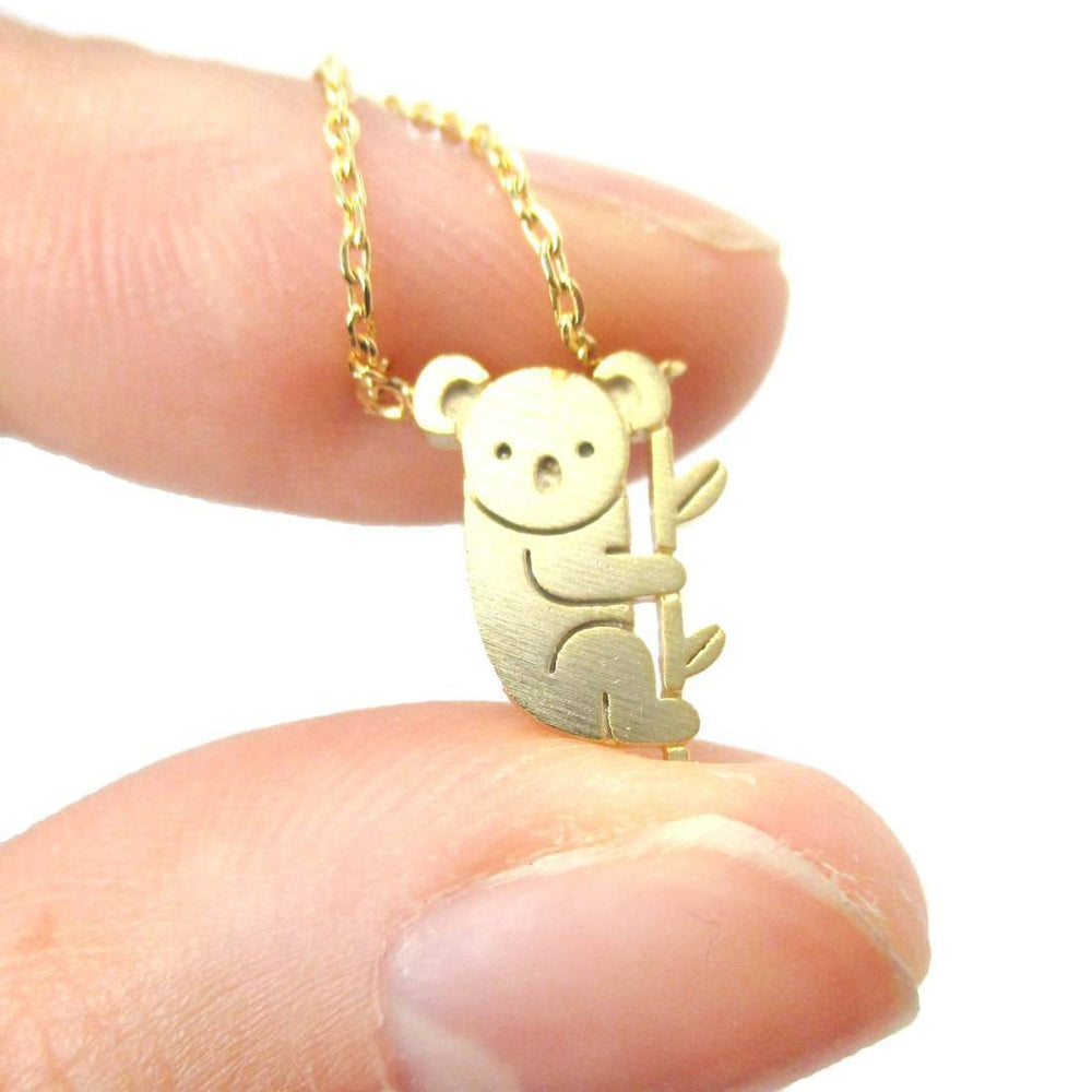 Adorable Koala Bear Shaped Silhouette Charm Necklace in Gold | Animal Jewelry | DOTOLY