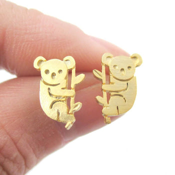 Adorable Koala Bear Silhouette Shaped Stud Earrings in Gold | Animal Jewelry | DOTOLY