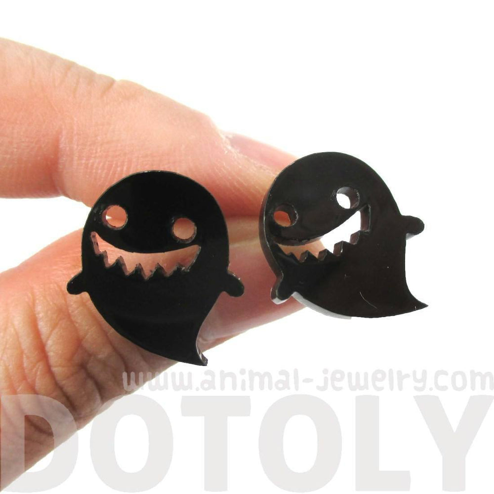 Adorable Laser Cut Acrylic Ghost Shaped Statement Stud Earrings in Black | DOTOLY
