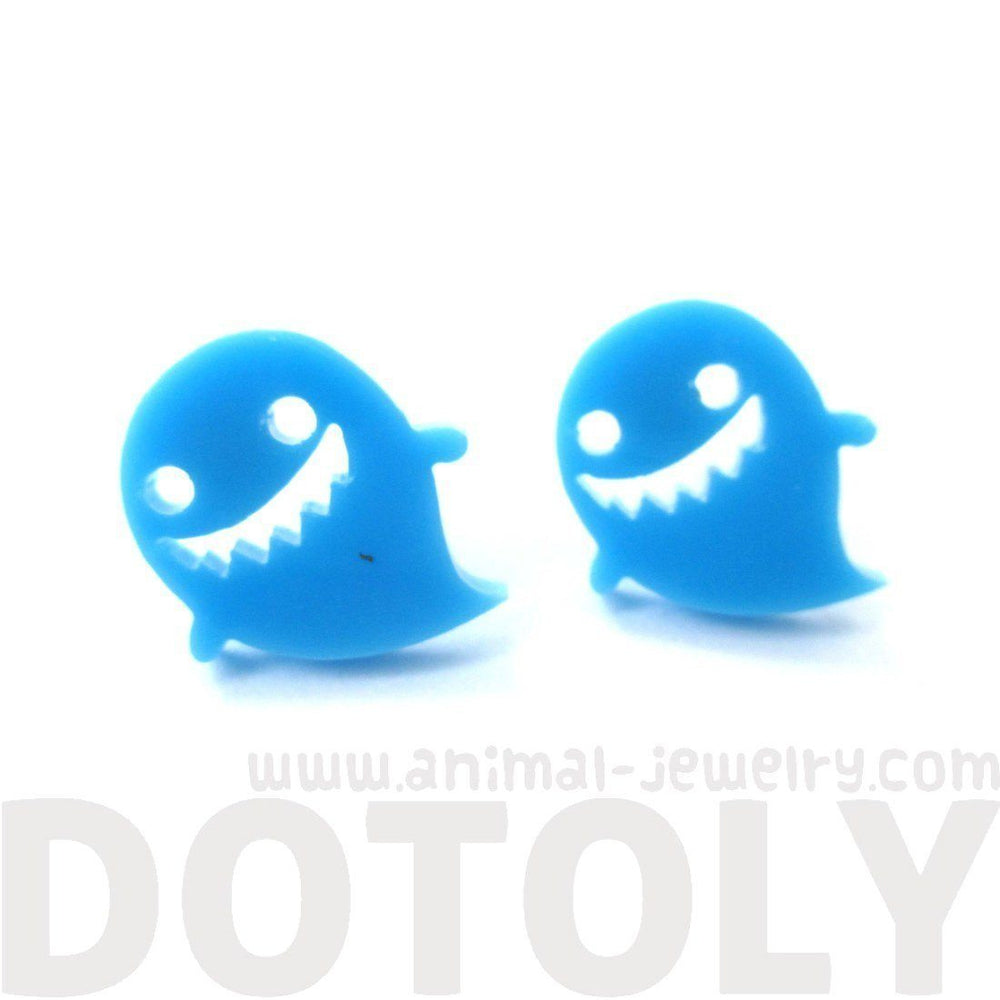 Adorable Laser Cut Acrylic Ghost Shaped Statement Stud Earrings in Blue | DOTOLY