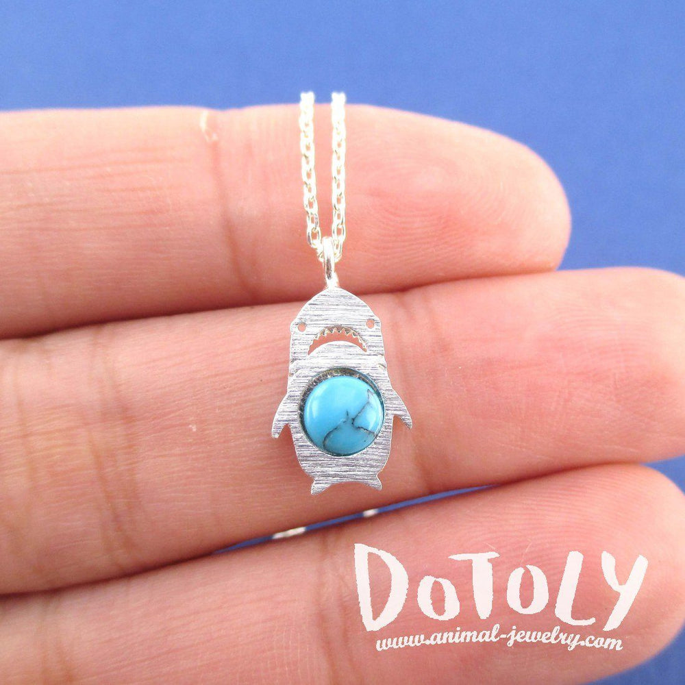 Adorable Left Shark Derpy Shark Pendant Necklace in Silver with Turquoise Bead | DOTOLY
