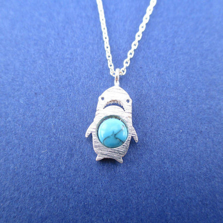 Adorable Left Shark Derpy Shark Pendant Necklace in Silver with Turquoise Bead