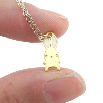Adorable Little Cartoon Bunny Rabbit Shaped Necklace in Gold | DOTOLY