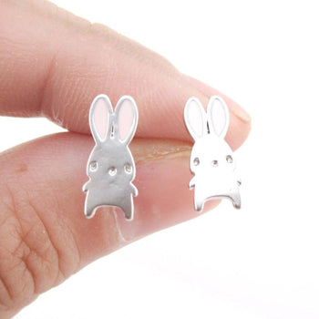 Adorable Little Cartoon Bunny Rabbit Shaped Stud Earrings in Silver | DOTOLY | DOTOLY