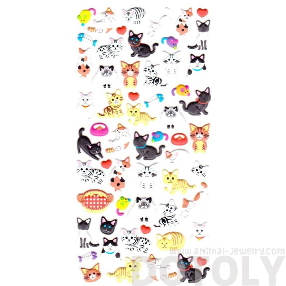 Adorable Mixed Kitty Cat Breed Animal Themed Puffy Stickers for Scrapbooking from Japan | DOTOLY