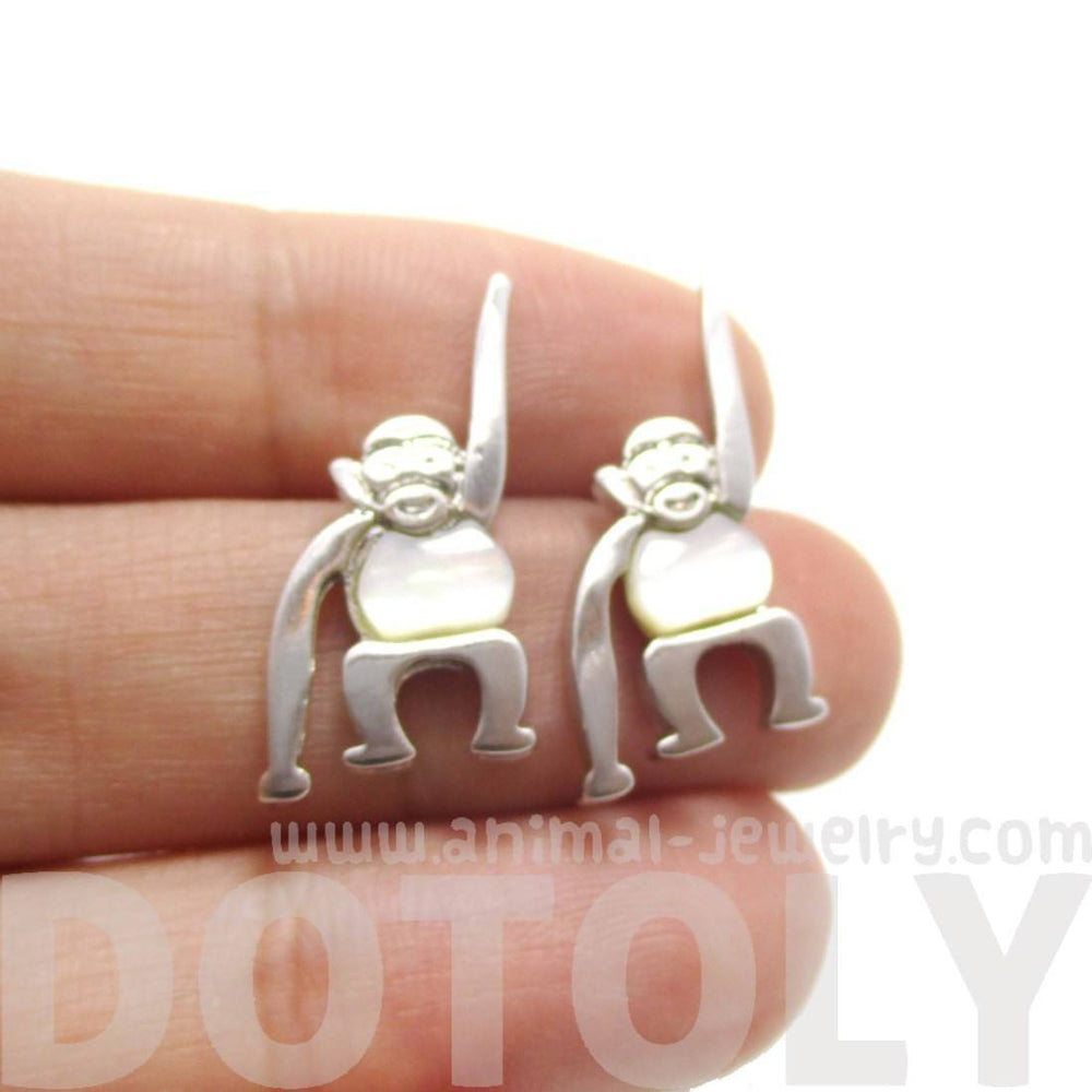 Adorable Monkey Chimpanzee Animal Themed Stud Earrings in Silver | DOTOLY | DOTOLY