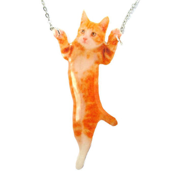 Adorable Orange Tabby Kitty Cat Standing Up Shaped Pendant Necklace | DOTOLY