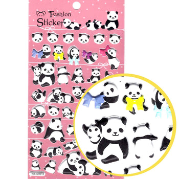 Adorable Panda Bear Cubs Animal Themed Puffy Stickers for Scrapbooking and Decorating | DOTOLY
