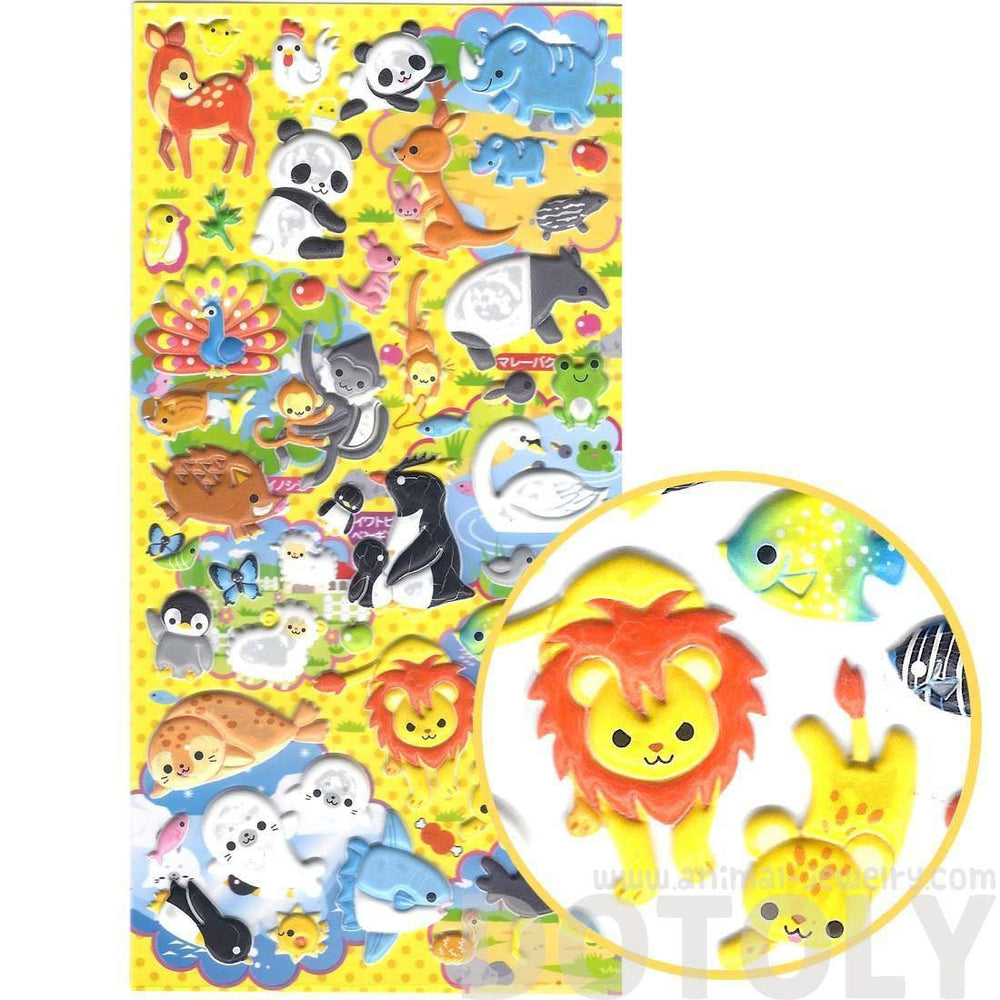 Panda Penguin Lion Cheetah Safari Animal Themed Puffy Stickers | 2 Sheets | DOTOLY