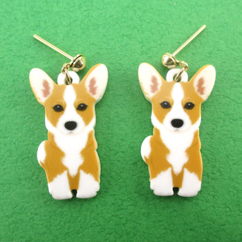 Adorable Pembroke Welsh Corgi Puppy Shaped Stud Drop Earrings for Dog Lovers