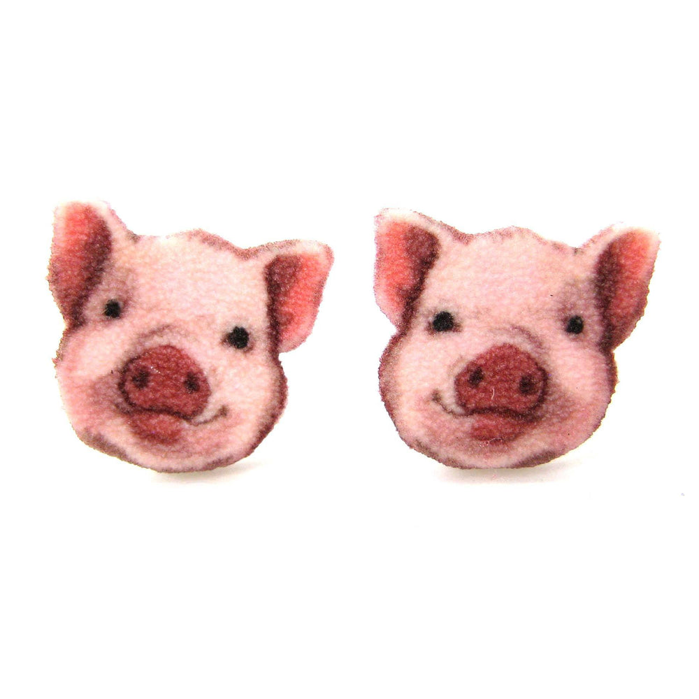 Adorable Pig Piglet Animal Head Shaped Stud Earrings | Handmade Shrink Plastic | DOTOLY