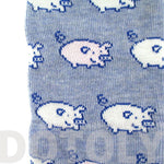 Adorable Pig Piglet Print Socks in Blue for Women | DOTOLY