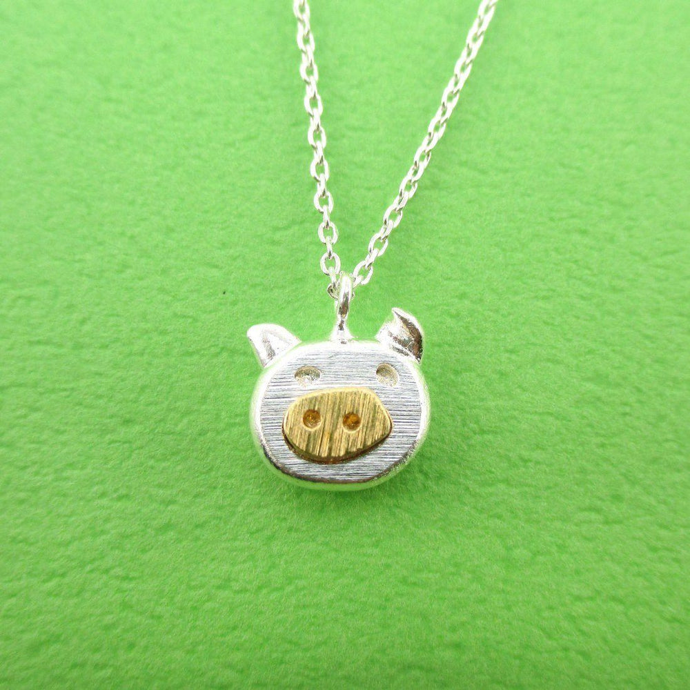Adorable Piggy Piglet Face Shaped Pendant Necklace in Silver | DOTOLY