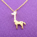 Adorable Pixel Baby Giraffe Shaped Pendant Necklace in Gold | DOTOLY