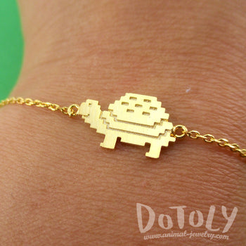 Adorable Pixel Turtle Tortoise Shaped Charm Bracelet in Gold | DOTOLY