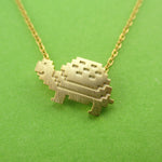 Adorable Pixel Turtle Tortoise Shaped Pendant Necklace in Gold | DOTOLY