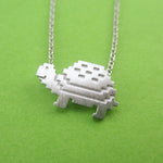 Adorable Pixel Turtle Tortoise Shaped Pendant Necklace in Silver | DOTOLY