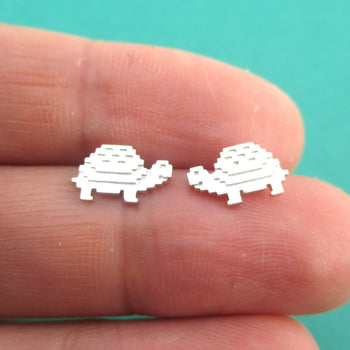 Adorable Pixel Turtle Tortoise Shaped Stud Earrings in Silver | DOTOLY