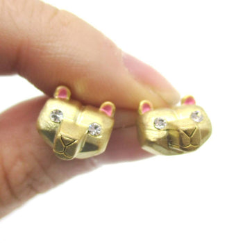 Adorable Polar Bear Face Shaped Animal Themed Stud Earrings in Gold | DOTOLY
